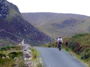 cycling down Granny Valley, in Donegal, Ireland