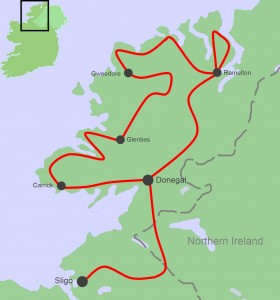 Ireland Cycling Tours, North West Grand Tour Map