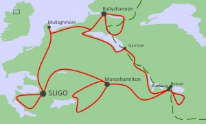Self guided bike tour, Yeats Country and Lakelands Map