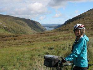 Bike tour Ireland, Jenny at Glenveagh.