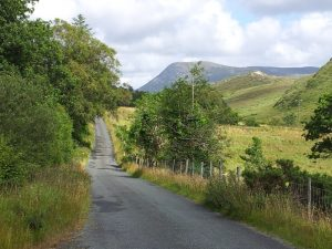 cycling along Glendowan Valley,  Donegal, Ireland