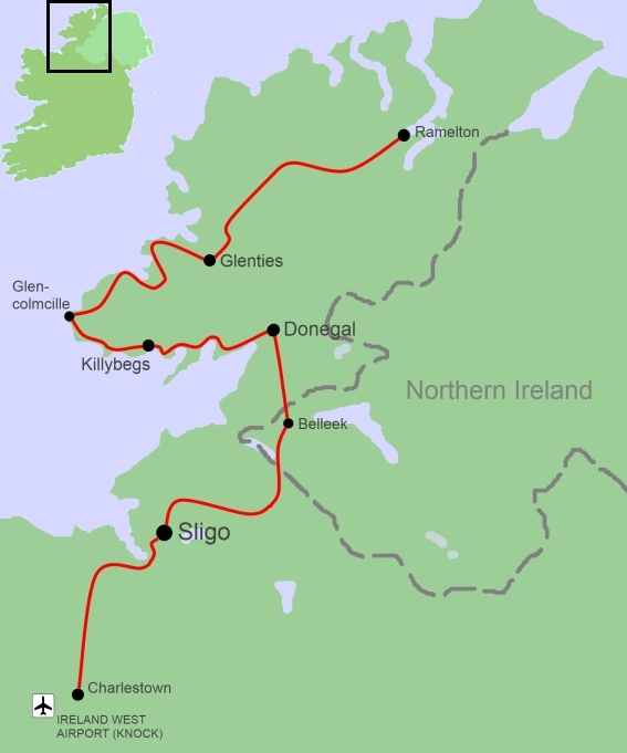 Map Of Ireland Knock.Knock To The Hills Of Donegal Cycle Tour Map Ireland By Bike