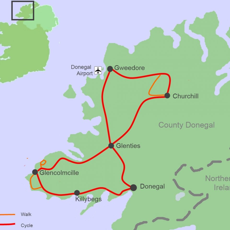 Donegal On Map Of Ireland.Bab Cycling And Walking Tour Map Ireland By Bike Ireland By Bike