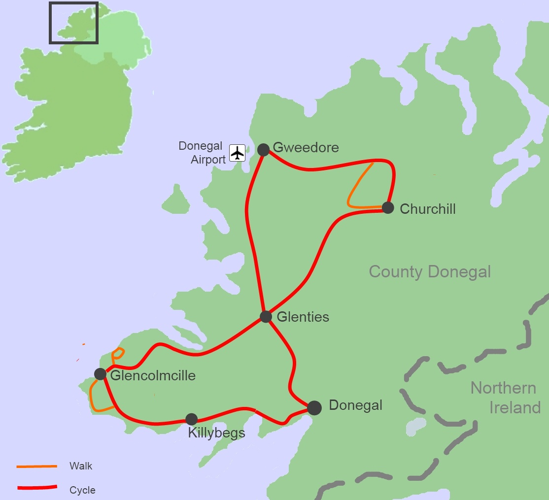 Donegal Map Of Ireland.Bab Cycling And Walking Tour Map Ireland By Bike Ireland By Bike