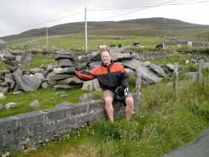 Resting on the roadside during Irish cycling holiday