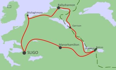Carte du séjour 8 jours la région des lacs d'Irlande
